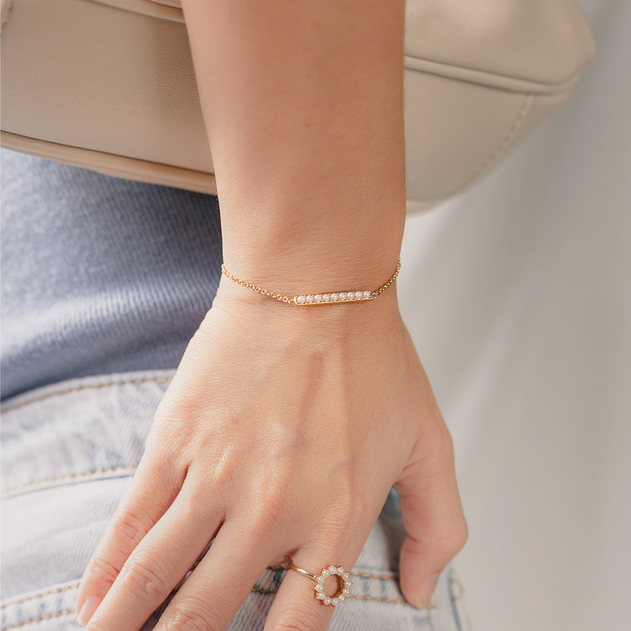 Gold Alice Pearl Bar Bracelet