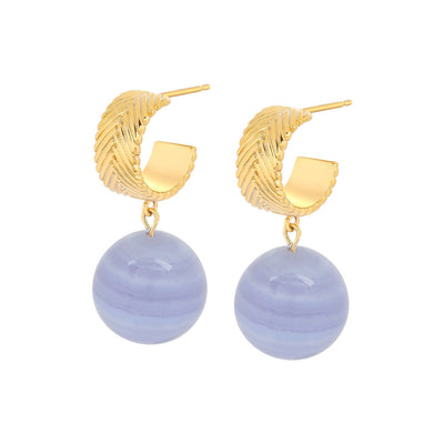 Gold Aubree Blue Lace Agate Earrings