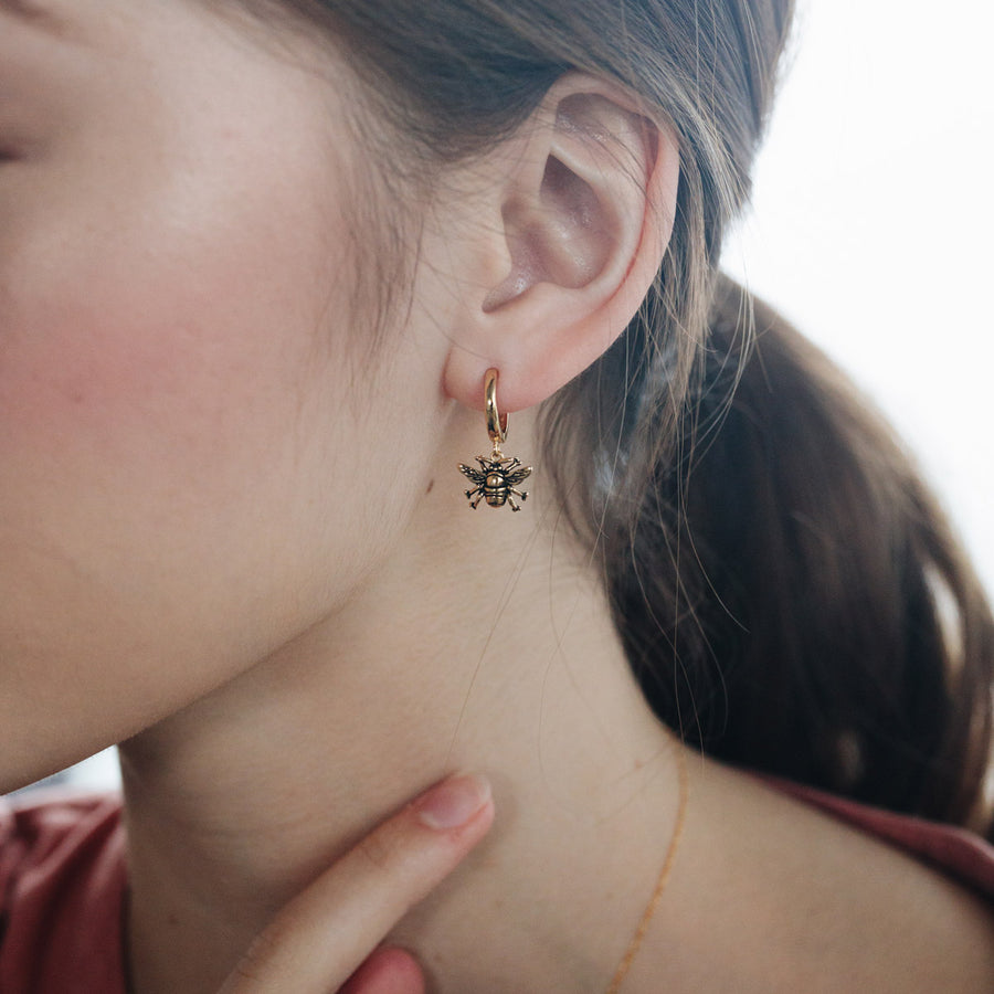 Gold Bumble Bee Hoop Earrings