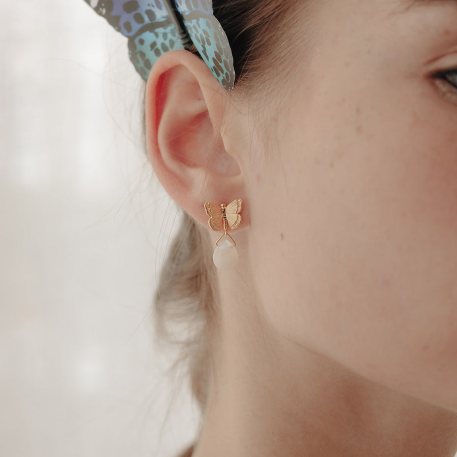 Gold Butterfly Teardrop Studs