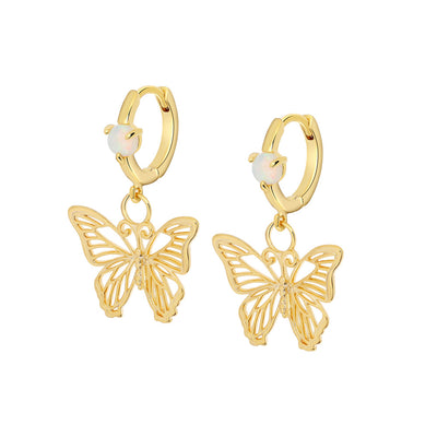 Gold Butterfly Opal Earrings