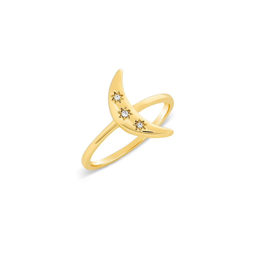 Gold Cosmic Crescent Ring