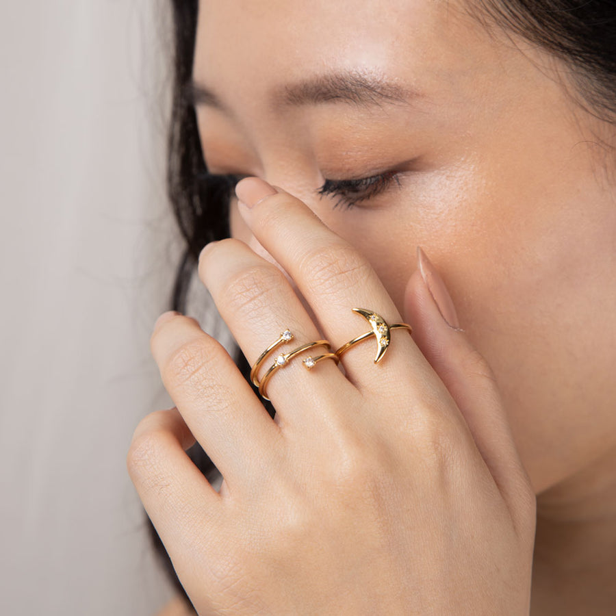 Gold Comet Cubic Ring