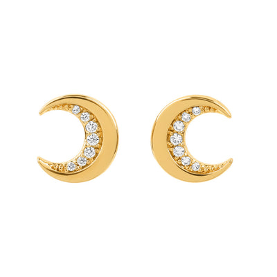 Gold Cosmic Crescent Studs