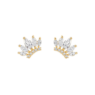 Gold Crown Cubic Studs