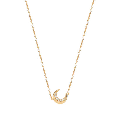 Gold Cosmic Crescent Necklace
