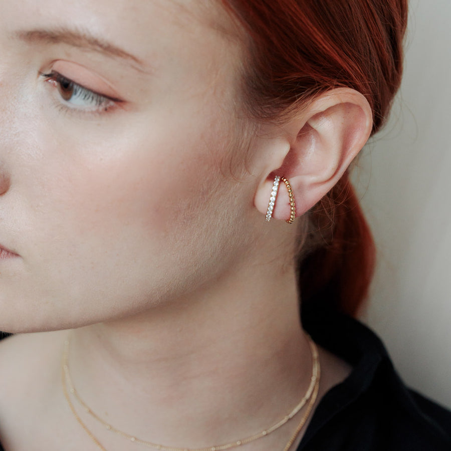 Gold Cubic Suspender Ear Studs