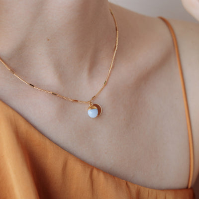 Gold Delphine Blue Lace Agate Necklace