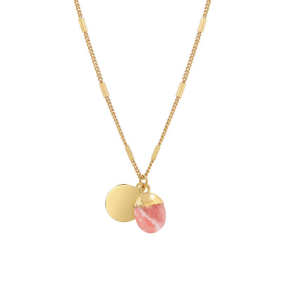 Gold Delphine Rhodochrosite Necklace