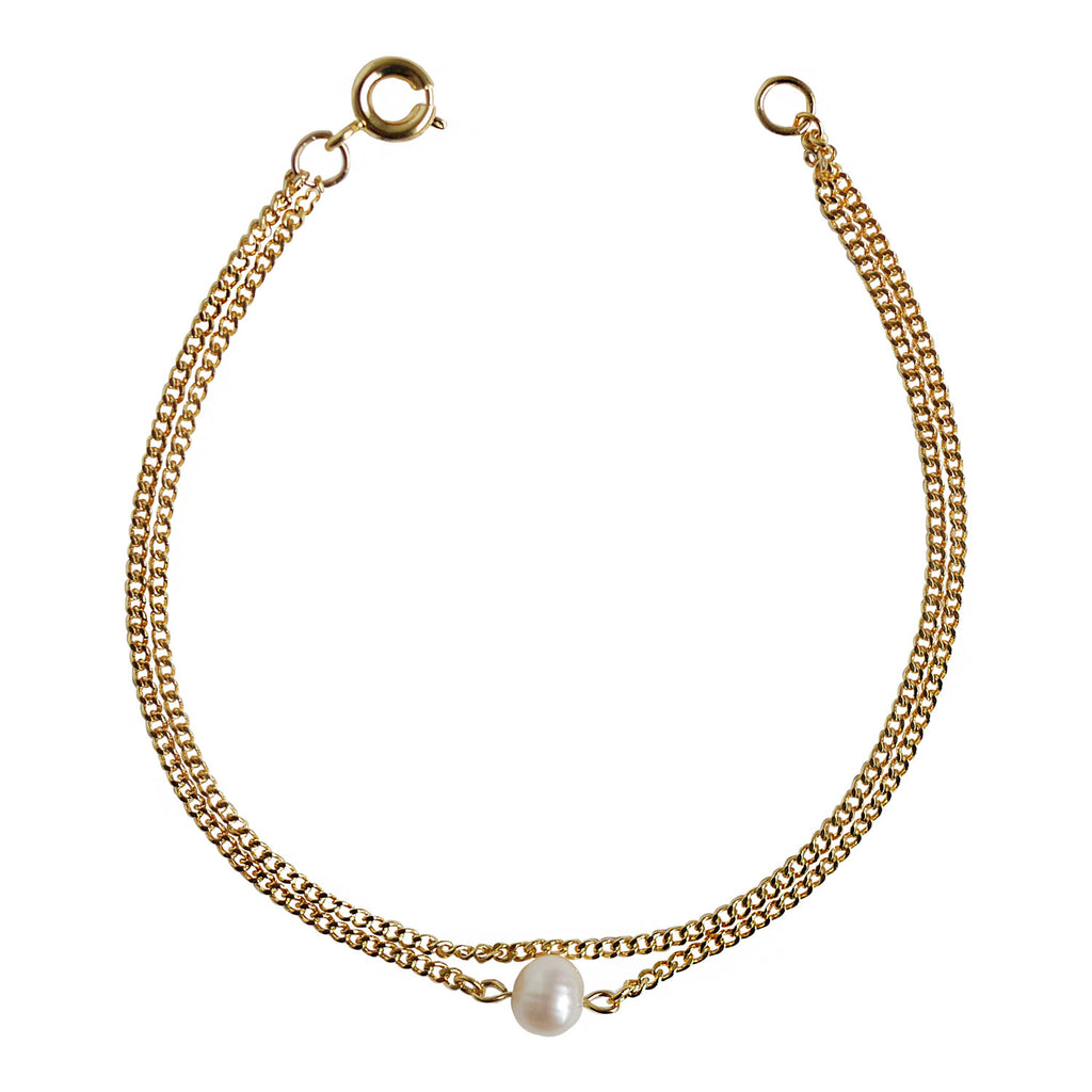 Gold Double Layered Pearl Bracelet