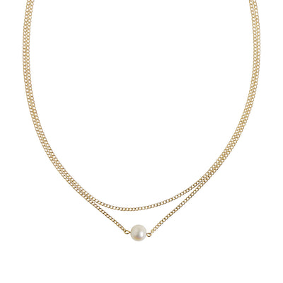 Gold Double Layer Pearl Necklace