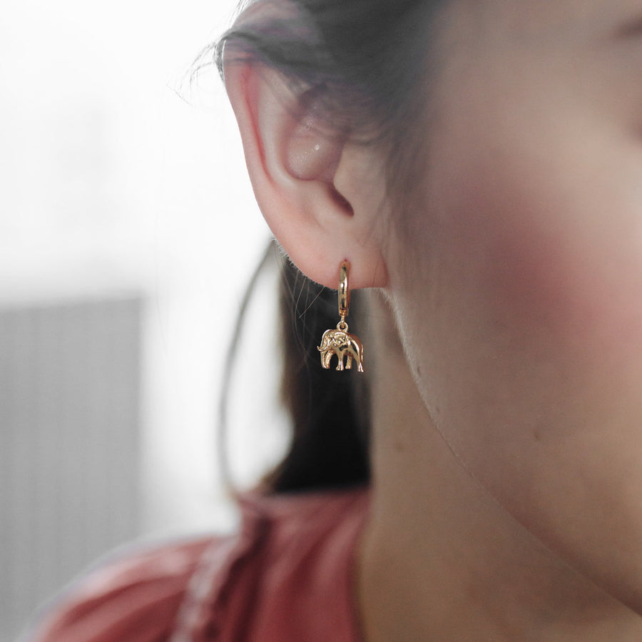 Gold Elephant Hoop Earrings
