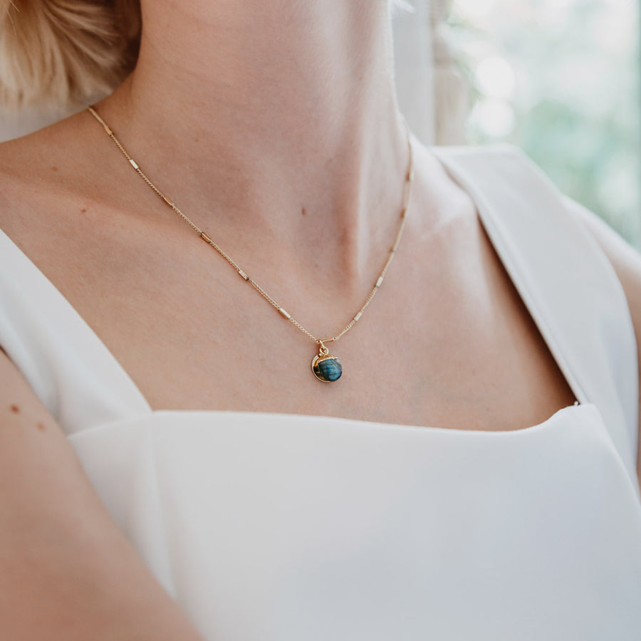 Gold Delphine Labradorite Necklace