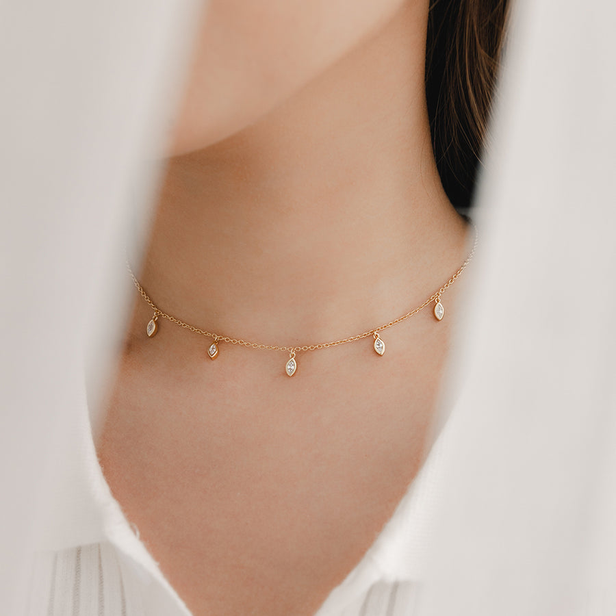 Gold Marquise Cubic Choker