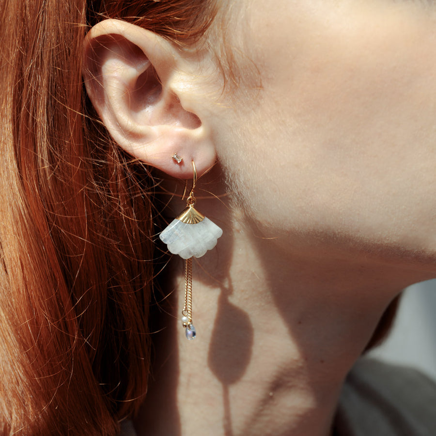 Gold Jasmine Moonstone Earrings