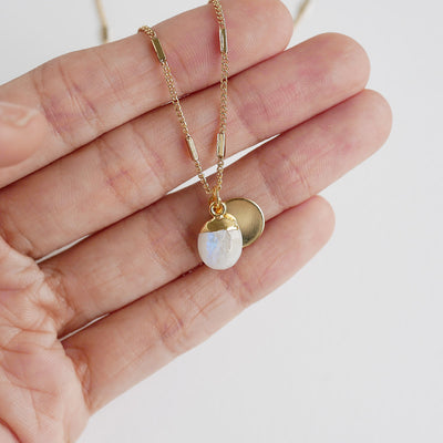 Gold Moonstone Delphine Necklace
