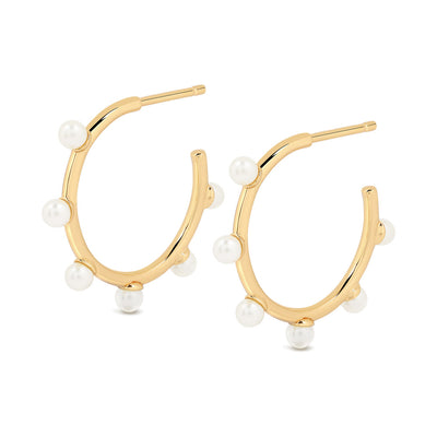 Gold Ally Pearl Hoop Earrings