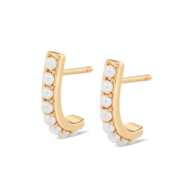 Gold Pearl Half Suspender Earrings