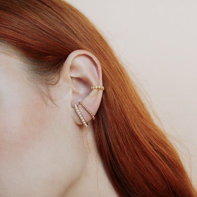 Gold Pearl Suspender Ear Studs