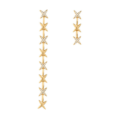 Gold Star Crossed Cubic Earrings