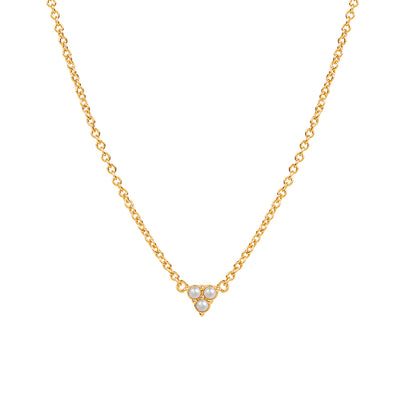 Gold Trinity Pearl Necklace