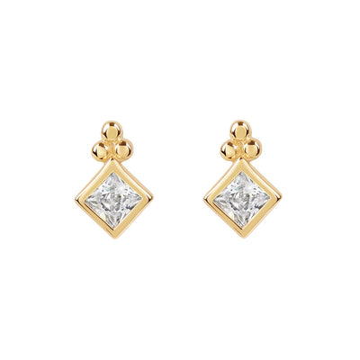 Gold Diamond Cubic Studs