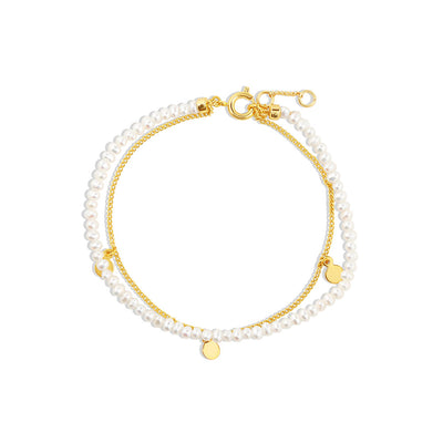 Gold Lydia Double Pearl Bracelet