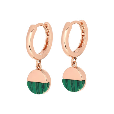 Rose Gold Malachite Huggies