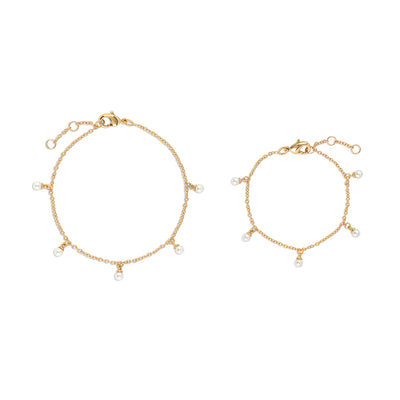Gold Mommy and Me Perla Bracelet Set