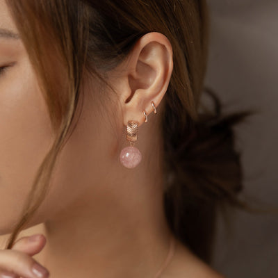 Rose Gold Aubree Strawberry Quartz Earrings