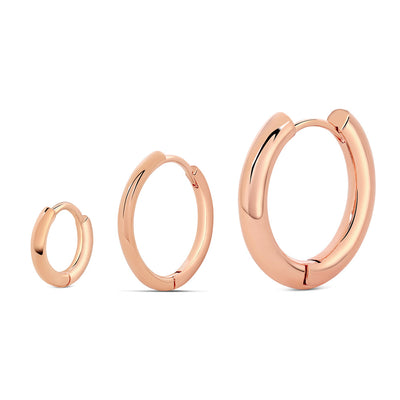 Rose Gold Basic Hoop Earrings (Set of 3)