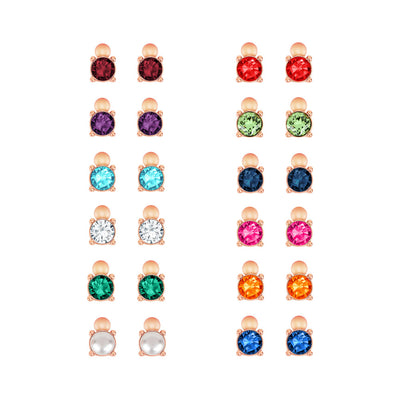 Rose Gold Bobbi Birthstone Studs