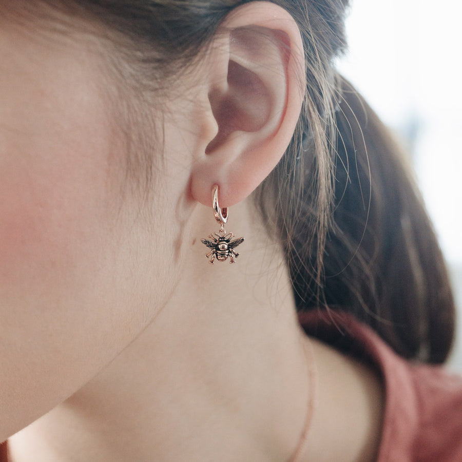 Rose Gold Bumble Bee Hoop Earrings