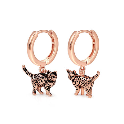 Rose Gold Leopard Hoop Earrings
