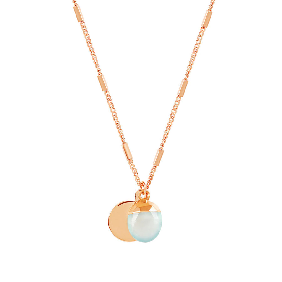 Rose Gold Delphine Aqua Chalcedony Necklace