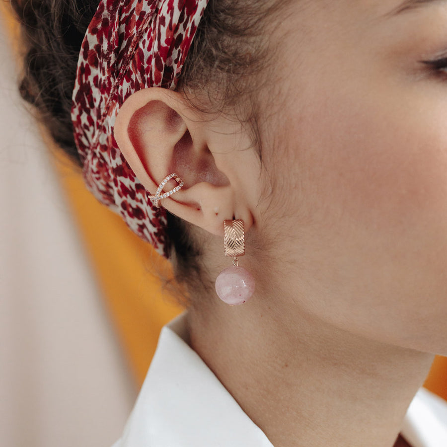 Rose Gold Cubic Cross Ear Cuff