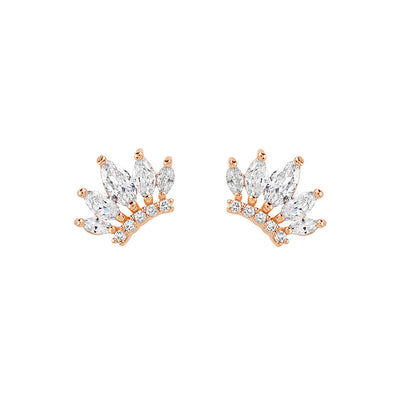 Rose Gold Crown Cubic Studs