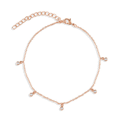 Rose Gold Crystal Cubic Anklet