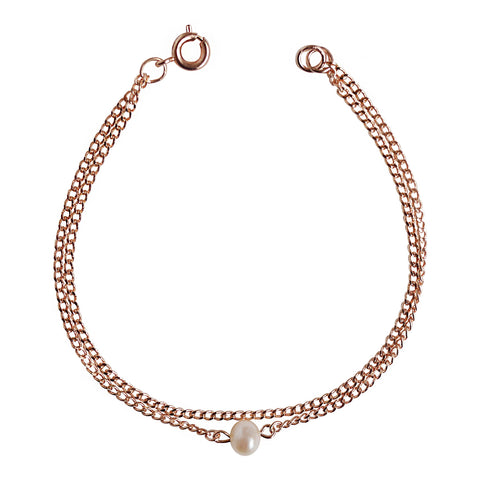 Rose Gold Double-Layered Pearl Bracelet