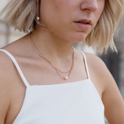 Rose Gold Double Layer Pearl Necklace