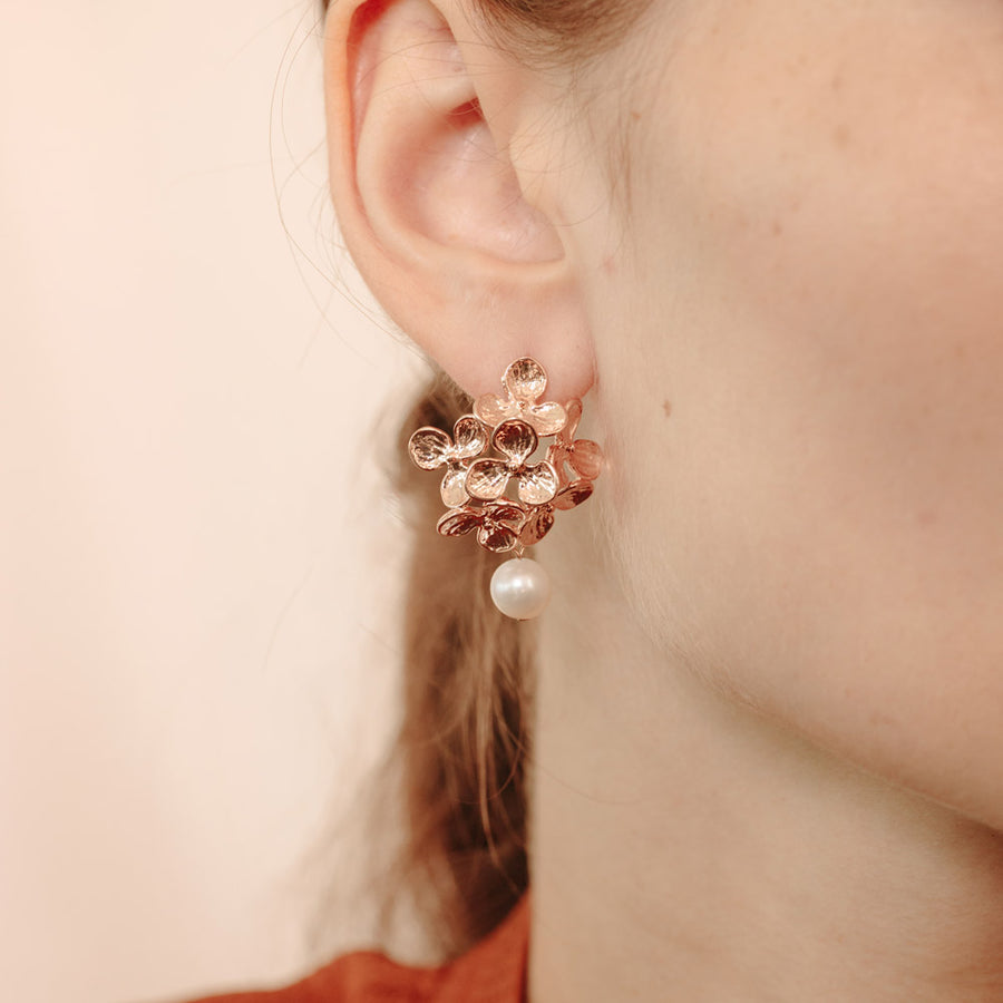 Rose Gold Gloria Pearl Earrings