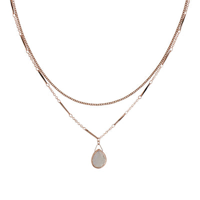 Rose Gold Luna Moonstone Necklace
