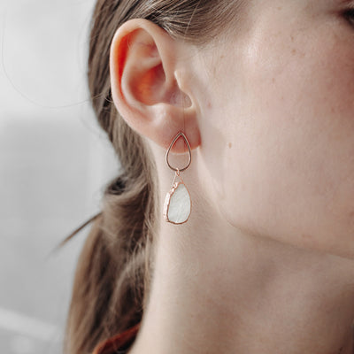 Rose Gold Macey Moonstone Studs