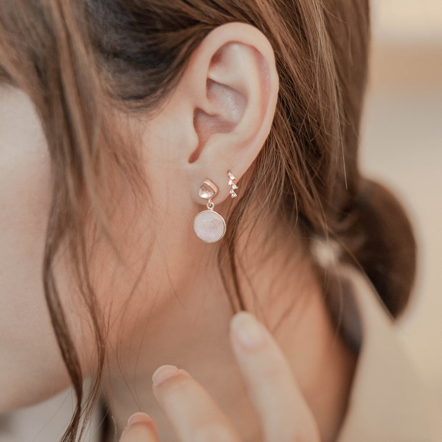 Rose Gold Danni Moonstone Earrings