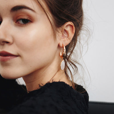 Rose Gold Pauline Moonstone Earrings