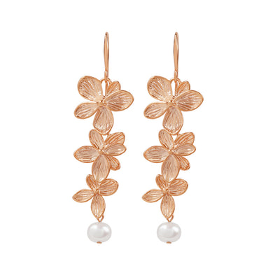 Rose Gold Cassidy Flower Earrings