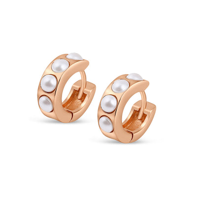 Rose Gold Perla Huggies