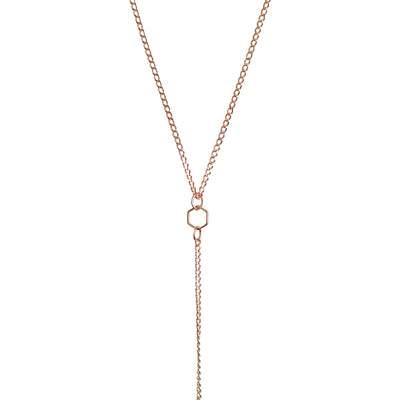 Rose Gold Simplicity Hexagon Necklace
