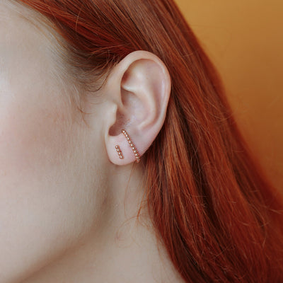 Rose Gold Spacer Suspender Ear Studs