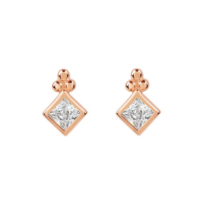 Rose Gold Diamond Cubic Studs